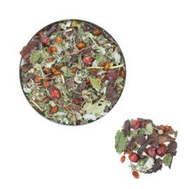 Чай Ягодка знижує стомлюваність і відновлює сили; підвищує працездатність і зміцнює імунітет