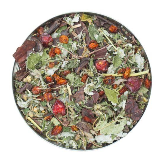 Чай Ягодка знижує стомлюваність і відновлює сили підвищує працездатність і зміцнює імунітет
